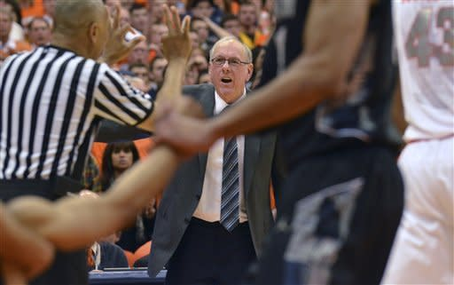Syracuse coach Jim Boeheim reacts to a call during the second half against Georgetown in an NCAA college basketball game in Syracuse, N.Y., Saturday, Feb. 23, 2013. Georgetown won 57-46. (AP Photo/Kevin Rivoli)