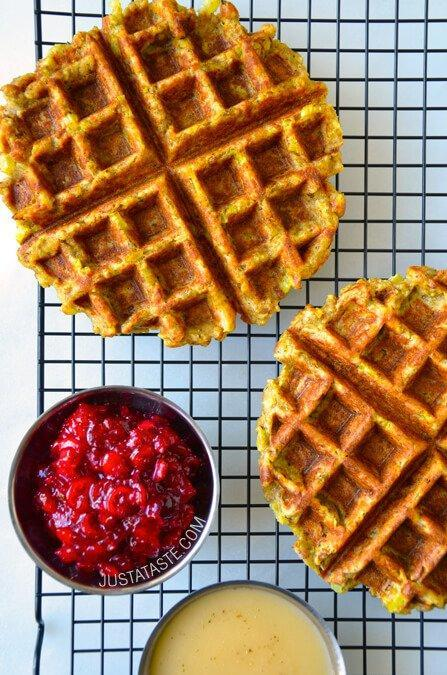 "<p>Betcha didn't know you could do this with stuffing! Get the recipe <a href=""http://www.justataste.com/thanksgiving-leftover-stuffing-waffles-recipe/"" rel=""nofollow noopener"" target=""_blank"" data-ylk=""slk:here"" class=""link rapid-noclick-resp""><strong>here</strong></a><br>[Photo: Just a Taste] </p>"