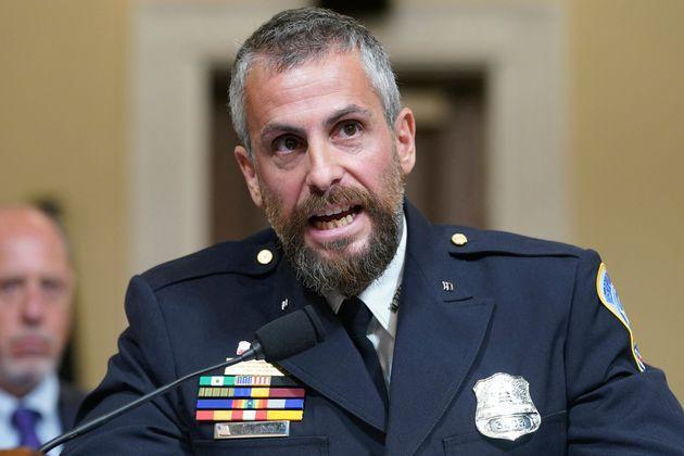 DC Metropolitan Police Department Officer Michael Fanone testifies during the select committee investigation of the Jan. 6 attack on the U.S. Capitol, during its first hearing on July 27. (Photo: ANDREW HARNIK via Getty Images)