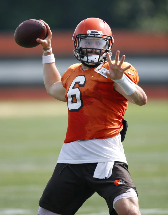 Cleveland Browns quarterback Baker Mayfield throws during an NFL football team practice Monday, Aug. 27, 2018, in Berea, Ohio. (AP Photo/Ron Schwane)