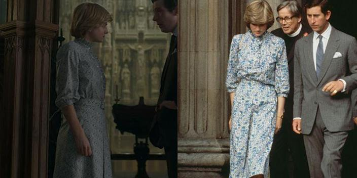"""<p>In a pivotal scene, just days before their wedding, <em>The Crown </em>depicts Prince Charles and Diana at their rehearsal in St Paul's Cathedral. Actress Emma Corrin wore an almost identical floral frock to what Princess Diana wore to her rehearsal in 1981. </p><p><strong>RELATED</strong>: <a href=""""https://www.goodhousekeeping.com/life/entertainment/a34882067/the-crown-princess-diana-accuracy-paul-burrell/"""" rel=""""nofollow noopener"""" target=""""_blank"""" data-ylk=""""slk:Princess Diana's Butler Says 'The Crown' Is &quot;Pretty Close to the Truth&quot;"""" class=""""link rapid-noclick-resp"""">Princess Diana's Butler Says 'The Crown' Is """"Pretty Close to the Truth""""</a></p>"""