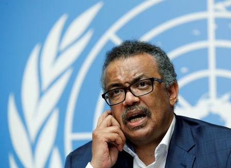 FILE PHOTO: Director-General of the World Health Organization (WHO) Tedros Adhanom Ghebreyesus attends a news conference after an Emergency Committee meeting on the Ebola outbreak in the Democratic Republic of Congo at the United Nations in Geneva, Switzerland, August 14, 2018.  REUTERS/Denis Balibouse