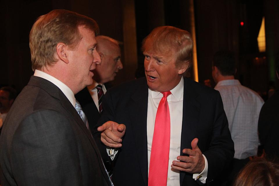 Roger Goodell and Donald Trump in 2008. (File photo: Al Pereira/Michael Ochs Archives/Getty Images)