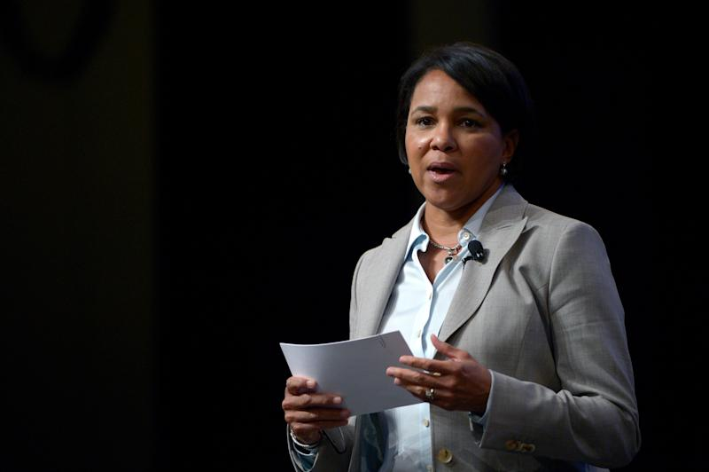 Sam's Club President and CEO Rosalind Brewer asks a question during a panel discussion at the Wal-Mart U.S. Manufacturing Summit in Orlando, Fla., Aug. 22, 2013.