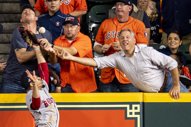 With no clear and convincing evidence, the replay review of Jose Altuve's play ended after 3 minutes, 13 seconds and ruled an out. (Getty Images)