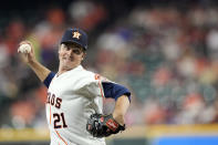Houston Astros starting pitcher Zack Greinke (21) throws against the Texas Rangers during the first inning of a baseball game Wednesday, June 16, 2021, in Houston. (AP Photo/David J. Phillip)