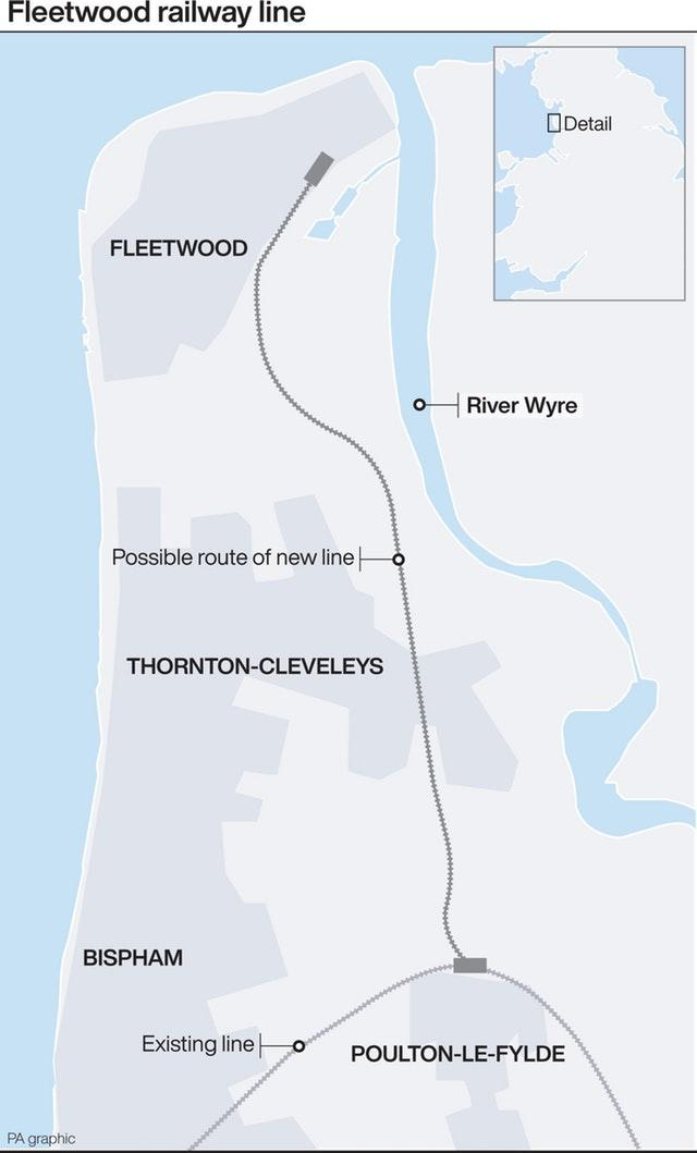 Graphic shows possible route of Poulton-le-Fylde to Fleetwood railway line