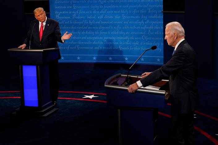 President Donald Trump gestures toward Democratic presidential candidate former Vice President Joe Biden during the second and final presidential debate in October 2020.