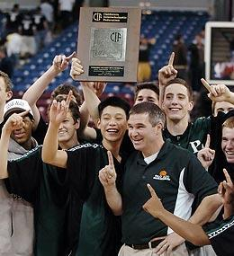 Jeremy Lin (front, center) celebrates with Palo Alto head coach Peter Diepenbrock and his teammates after winning the Northern California Division II first-place trophy in 2006