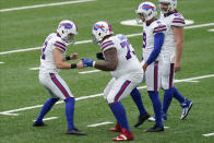 Buffalo Bills kicker Tyler Bass, left, celebrates his sixth field goal of the day during the second half of an NFL football game against the New York Jets, Sunday, Oct. 25, 2020, in East Rutherford, N.J. (AP Photo/Frank Franklin II)