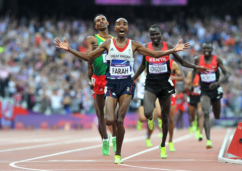 Great Britain's Mo Farah wins the Men's 5000m Final during Day 15 of the London 2012 Olympics at the Olympic Stadium, London.