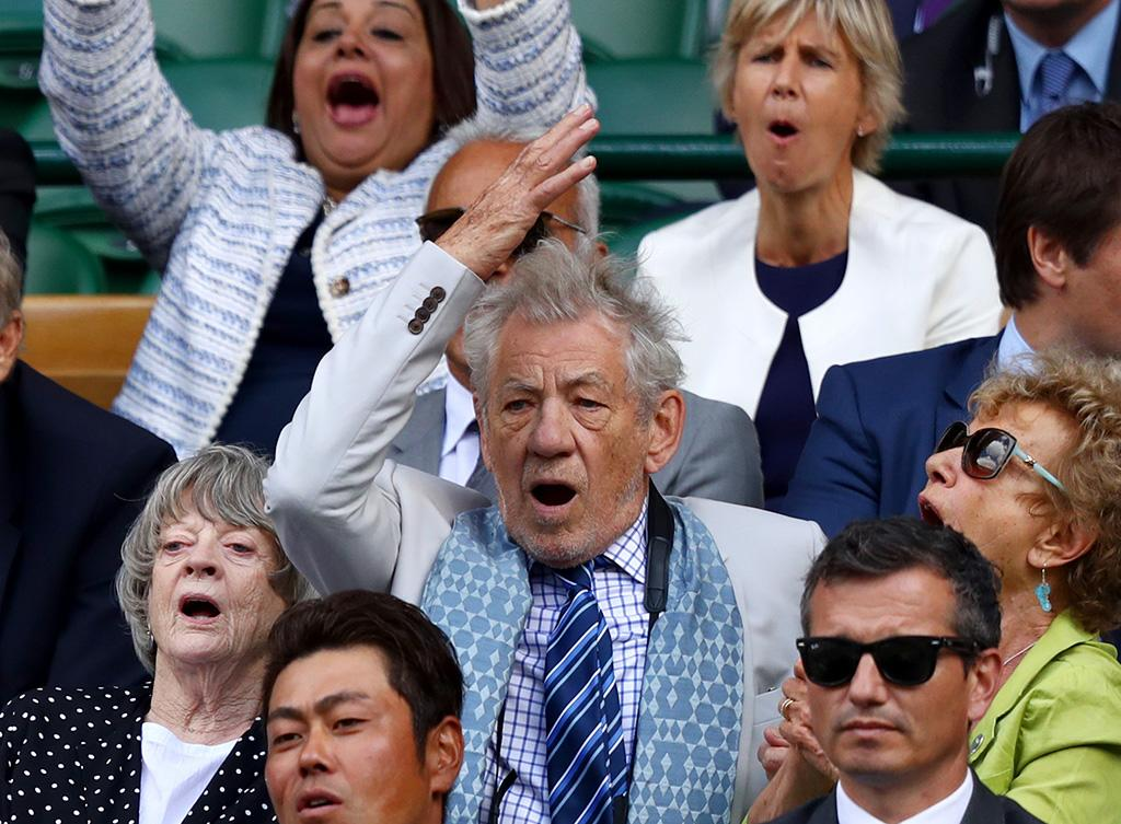 <p>Tennis superfans Maggie Smith and Ian McKellen were engaged and expressive during the exciting Wimbledon match between Sam Querrey and Andy Murray on July 12. Querrey was the winner. (Photo: Michael Steele/Getty Images) </p>