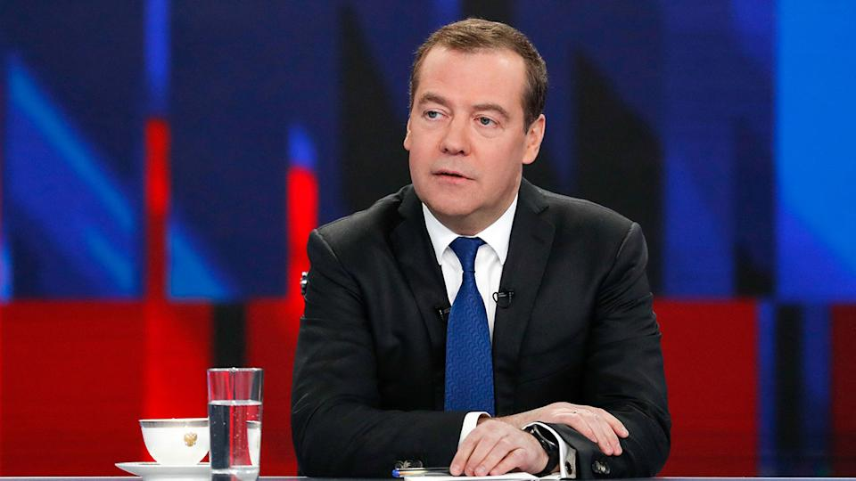 Pictured here, Russian Prime Minister Dmitry Medvedev said the ban against his country amounted to 'hysteria'.