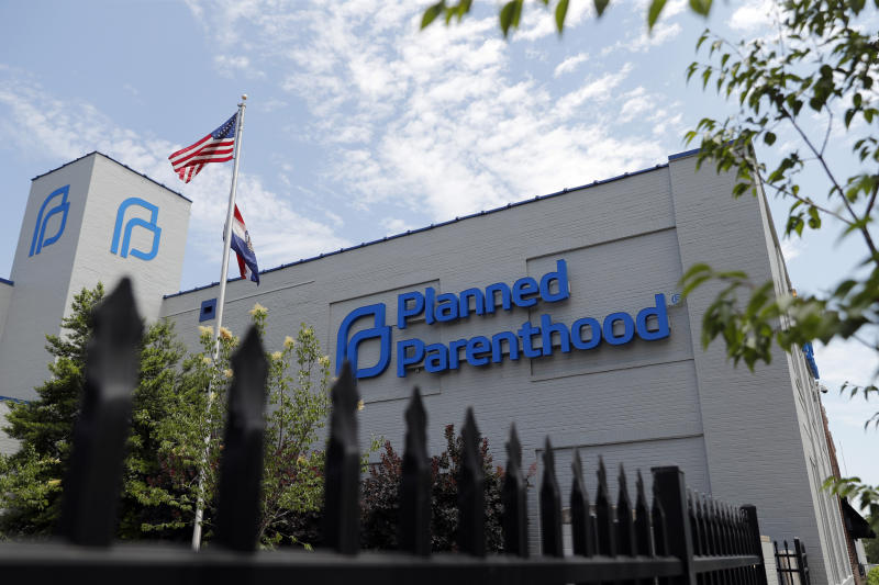 FILE- In this June 4, 2019, file photo, a Planned Parenthood clinic is photographed in St. Louis. Planned Parenthood says it will leave the federal family planning program by Monday, Aug. 19, unless a court puts a hold on Trump administration rules that bar clinics from referring women for abortions. (AP Photo/Jeff Roberson, File)