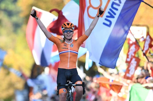 Anna van der Breggen pulverised the field to win the women's world road race title (AFP Photo/Christof STACHE )