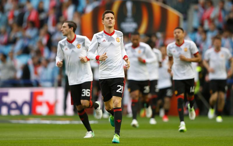 Manchester United's Ander Herrera warms up - Credit: REUTERS