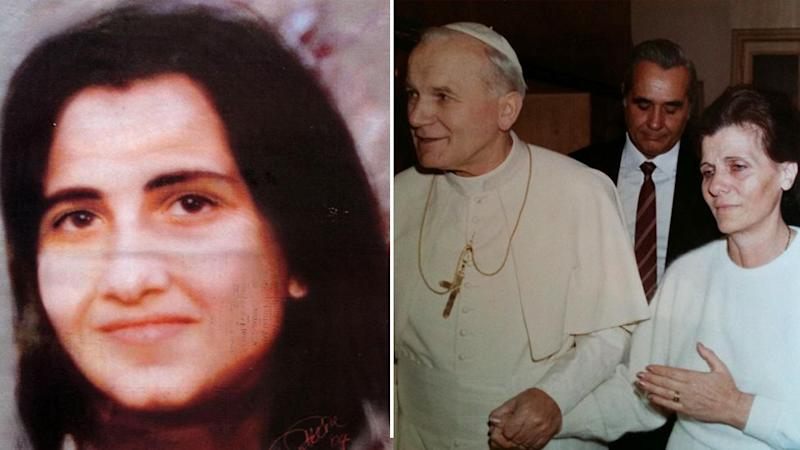 Pictured (left) is 15-year-old Emanuela Orlandi who vanished in 1983. Her mother is pictured (right) with Pope John Paul II.