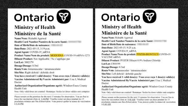 Agarwal sent CBC News these two vaccination dose receipts. He says he received the first one Saturday afternoon, indicating he got the Moderna vaccine. But after calling the clinic to complain Monday, he added, he was issued a new receipt which indicates he received Pfizer.