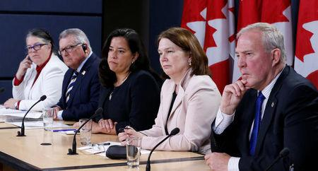 Canada's Revenue Minister Diane Lebouthillier, Public Safety Minister Ralph Goodale, Justice Minister Jody Wilson-Raybould, Health Minister Jane Philpott and Bill Blair take part in a news conference in Ottawa