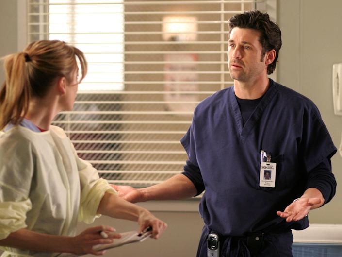 """Ellen Pompeo and Patrick Dempsey in a scene from """"Grey's Anatomy"""""""