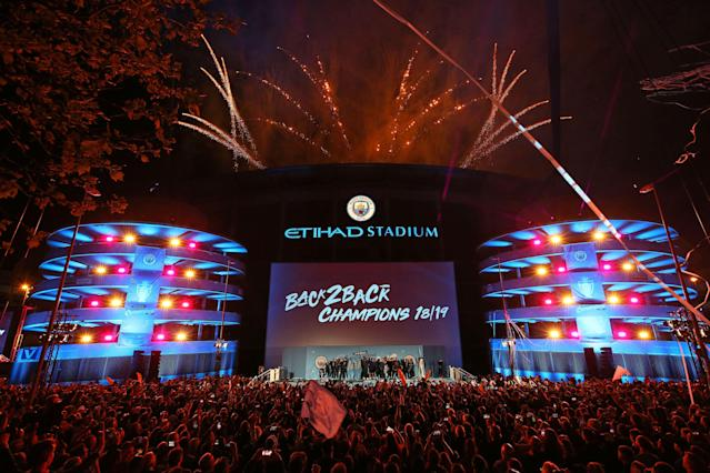 MANCHESTER, ENGLAND - MAY 12: A general view outside the stadium as the players of Manchester City celebrate in front of their fans with the trophy after winning the Premier League title at the Etihad Stadium on May 12, 2019 in Manchester, England. (Photo by Manchester City FC/Man City via Getty Images)