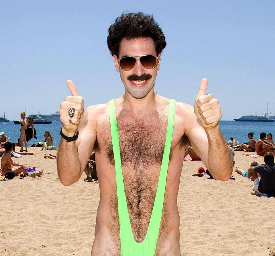 Sacha Baron Cohen made the mankini famous when he wore the outfit in comedy film Borat.