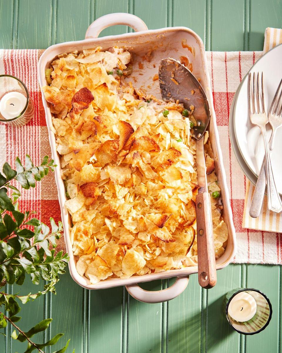 """<p>Made mostly with pantry ingredients, it's easy to keep everything you need on hand to make this classic comfort-food dish. It's both delicious and easy. What else could you want? </p><p><strong><a href=""""https://www.countryliving.com/food-drinks/a36876104/tuna-noodle-casserole-recipe/"""" rel=""""nofollow noopener"""" target=""""_blank"""" data-ylk=""""slk:Get the recipe"""" class=""""link rapid-noclick-resp"""">Get the recipe</a>.</strong></p>"""