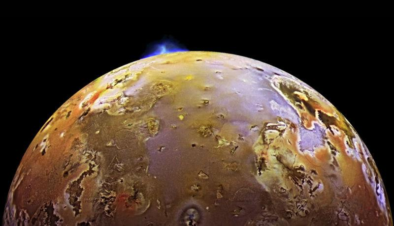 NASA's Galileo spacecraft captured a volcanic explosion on Io back in the late 1990s.