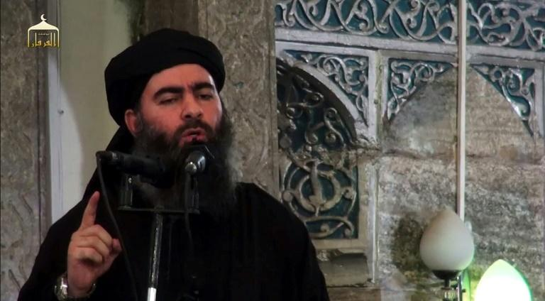 """Islamic State group chief Abu Bakr al-Baghdadi made his only known public appearance as """"caliph"""" at a mosque in Mosul in 2014"""
