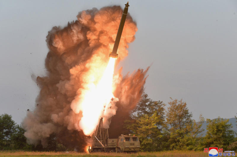 "This Tuesday, Sept. 10, 2019, photo provided by the North Korean government shows a test-firing from a multiple rocket launcher at an undisclosed location in North Korea. KCNA reports North Korean leader Kim Jong Un visited the site. The content of this image is as provided and cannot be independently verified. Korean language watermark on image as provided by source reads: ""KCNA"" which is the abbreviation for Korean Central News Agency. (Korean Central News Agency/Korea News Service via AP)"