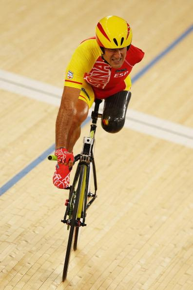 Juan Jose Mendez of Spain competes in the Men's Individual C1-2-3 1km Cycling Time Trial final on day 1 of the London 2012 Paralympic Games at Velodrome on August 30, 2012 in London, England. (Photo by Hannah Johnston/Getty Images)