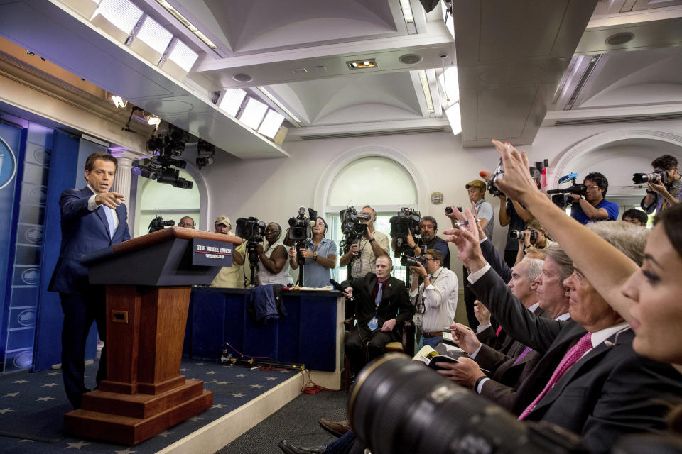 Anthony Scaramucci, incoming White House communications director, takes a question from the media during the daily press briefing at the White House, Friday, July 21, 2017, in Washington. White House press secretary Sean Spicer resigned and Sarah Huckabee Sanders was named press secretary. (AP Photo/Andrew Harnik)