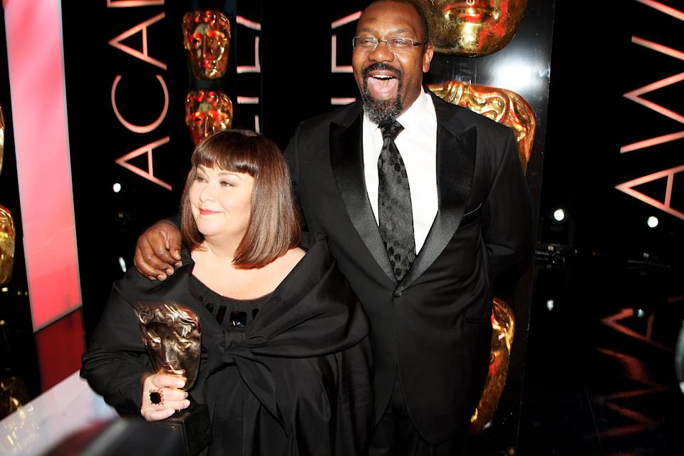 LONDON - APRIL 26: Dawn French and Lenny Henry pose in the press room at the BAFTA Television Awards 2009 held at The Royal Festival Hall, Southbank Centre on April 26, 2009 in London, England. (Photo by Dave Hogan/Getty Images)