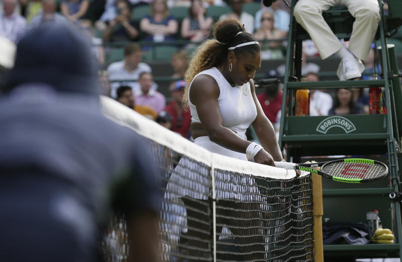 Serena Williams relaxed between Wimbledon matches with baby bike ride