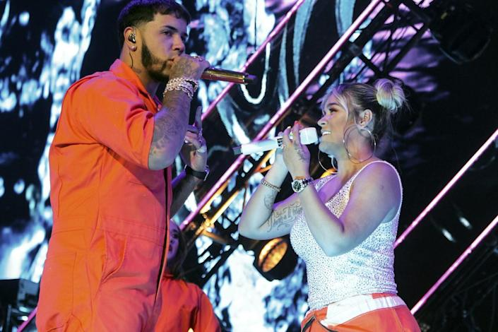 Anuel AA and Karol G perform in Mexico City in 2019.