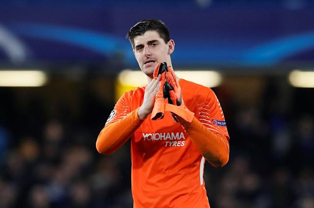 Soccer Football - Champions League Round of 16 First Leg - Chelsea vs FC Barcelona - Stamford Bridge, London, Britain - February 20, 2018 Chelsea's Thibaut Courtois applauds fans after the match REUTERS/David Klein
