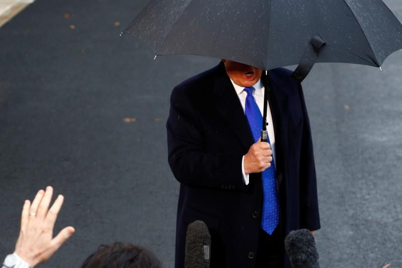 U.S. President Donald Trump delivers remarks to the press before boarding Marine One at the South Lawn of the White House in Washington