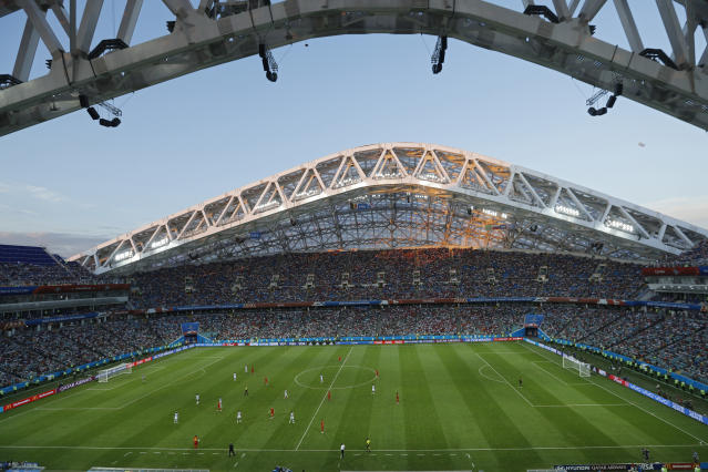 Belgium and Panama play the group G match at the 2018 soccer World Cup in the Fisht Stadium in Sochi, Russia, Monday, June 18, 2018. Belgium won 3-0. (AP Photo/Victor R. Caivano)