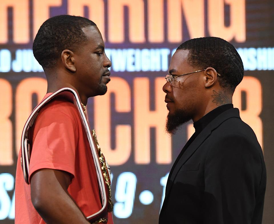 LAS VEGAS, NEVADA - SEPTEMBER 13:  WBO junior lightweight champion Jamel Herring (L) and Lamont Roach Jr. face off during a news conference announcing Top Rank Boxing's fall schedule at the KA Theatre at MGM Grand Hotel & Casino on September 13, 2019 in Las Vegas, Nevada. Herring will defend his title against Roach on November 9 in Fresno, Calif.  (Photo by Ethan Miller/Getty Images)