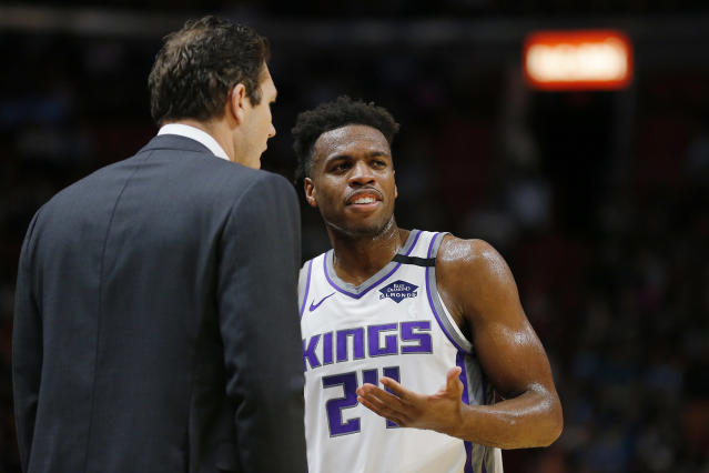 Though the Kings have gone 6-3 since Buddy Hield was pulled from the starting lineup, and his numbers are up, Hield isn't happy with the Kings coaching staff. (Michael Reaves/Getty Images)