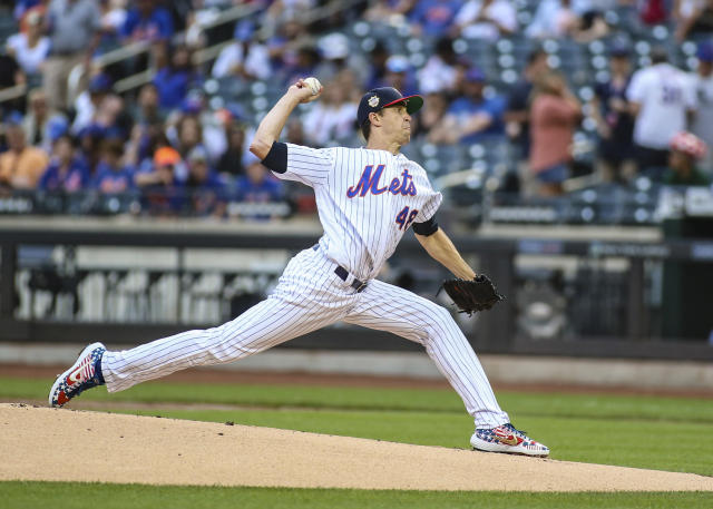 """Jul 5, 2019; New York City, NY, USA; <a class=""""link rapid-noclick-resp"""" href=""""/mlb/teams/ny-mets/"""" data-ylk=""""slk:New York Mets"""">New York Mets</a> pitcher <a class=""""link rapid-noclick-resp"""" href=""""/mlb/players/9701/"""" data-ylk=""""slk:Jacob deGrom"""">Jacob deGrom</a> (48) pitches in the first inning against the <a class=""""link rapid-noclick-resp"""" href=""""/mlb/teams/philadelphia/"""" data-ylk=""""slk:Philadelphia Phillies"""">Philadelphia Phillies</a> at Citi Field. Mandatory Credit: Wendell Cruz-USA TODAY Sports"""