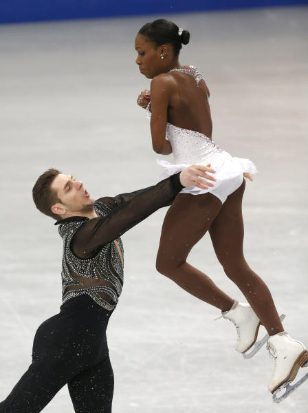 France's Vanessa James and Morgan Cipres compete in the pairs free skating at the European Figure Skating Championships in Budapest, Hungary, Sunday, Jan. 19, 2014. (AP Photo/Darko Bandic)