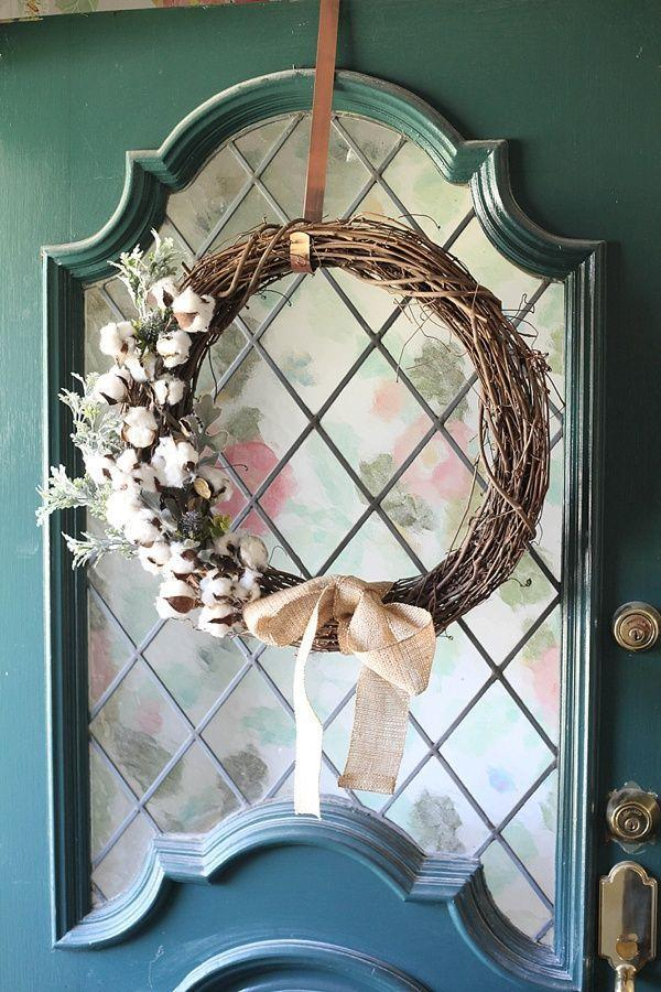 """<p>Instead of using fall-colored flowers on your wreath, opt for something a bit different, like faux cotton. </p><p><strong>Get the tutorial at <a href=""""http://www.runtoradiance.com/pretty-diy-fall-wreath-3-ways/"""" rel=""""nofollow noopener"""" target=""""_blank"""" data-ylk=""""slk:Run to Radiance."""" class=""""link rapid-noclick-resp"""">Run to Radiance.</a> </strong> </p>"""