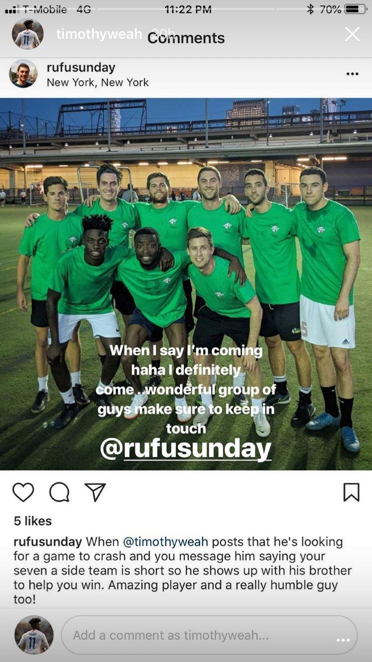 Tim Weah IG screenshot