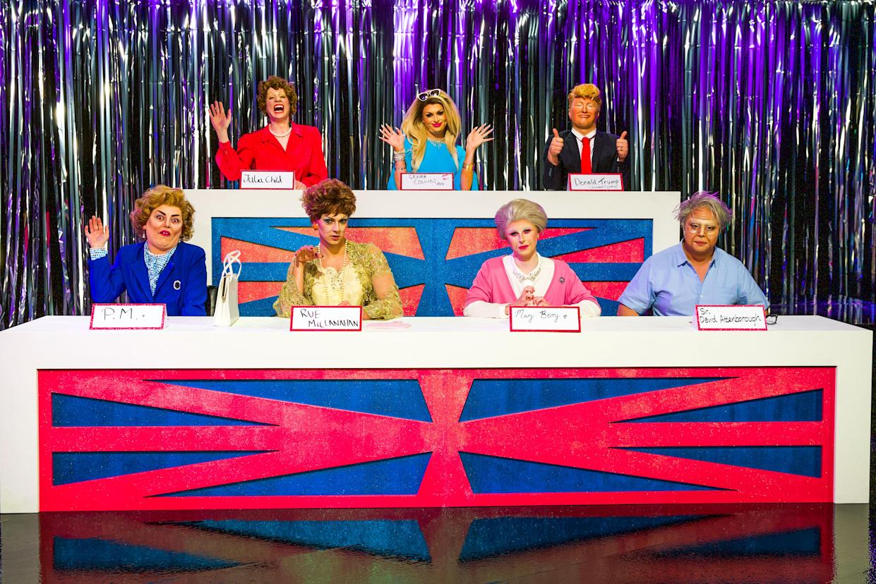 The queens on RuPaul's Drag Race UK taking part in the Snatch Game during the first series (BBC/Guy Levy/PA)