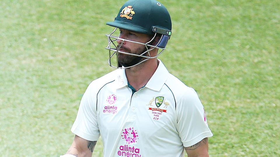 Matthew Wade looks on during the third Test between Australia and India. (Photo by Jason McCawley - CA/Cricket Australia via Getty Images)