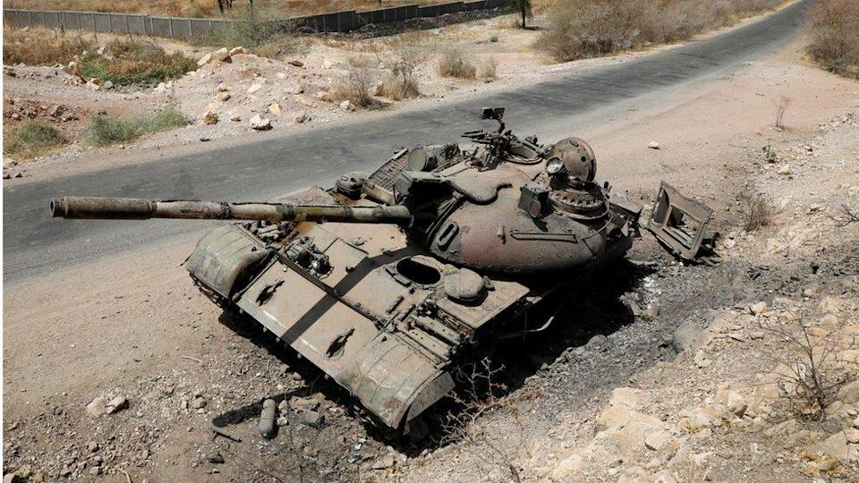 A tank damaged in fighting between Ethiopian government and Tigray forces is pictured near the town of Humera, Ethiopia, March 3, 2021