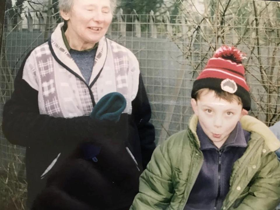 Lewis Hornby as a child with his grandma Pat. (SWNS)