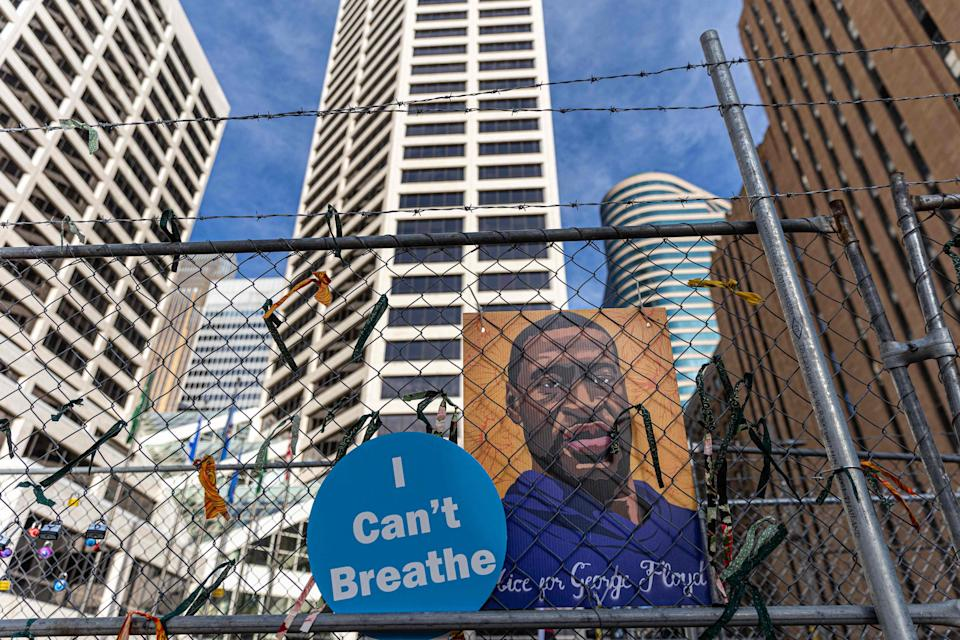 George Floyd poster on March 30, 2021, in Minneapolis, Minnesota.