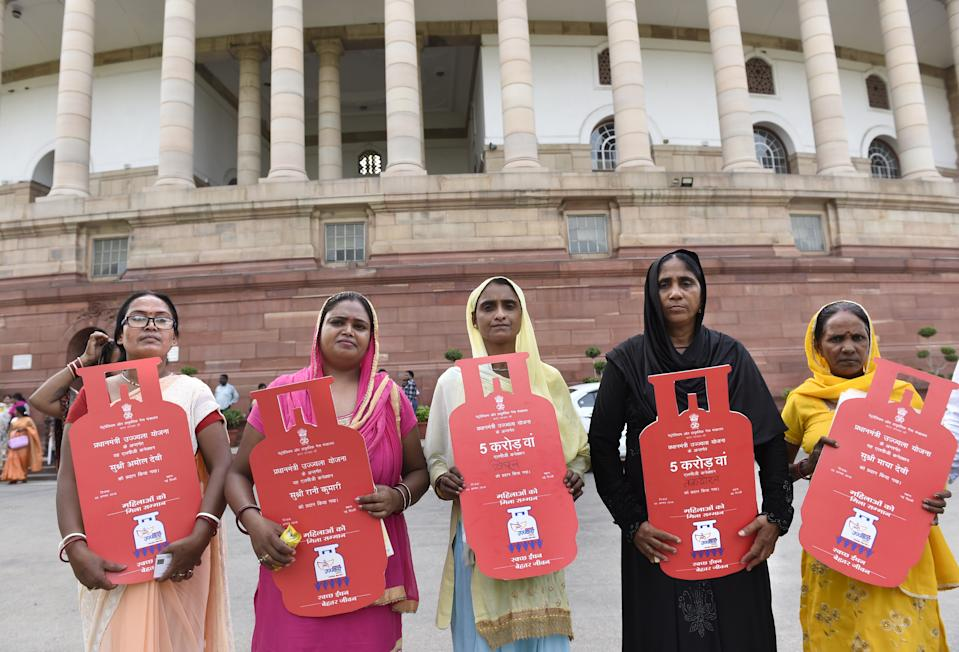 <strong>Launched on 1 May 2016</strong> PMUY aims to distribute 50 million LPG connections to women of BPL families. A budgetary allocation of ₹800 billion (US$12 billion) was made for the scheme. In the first year of its launch, the connections distributed were 22 million against the target of 15 million. As of 23 October 2017, 30 million connections were distributed, 44% of which were given to families belonging to scheduled castes and scheduled tribes. The number crossed 58 million by December 2018.